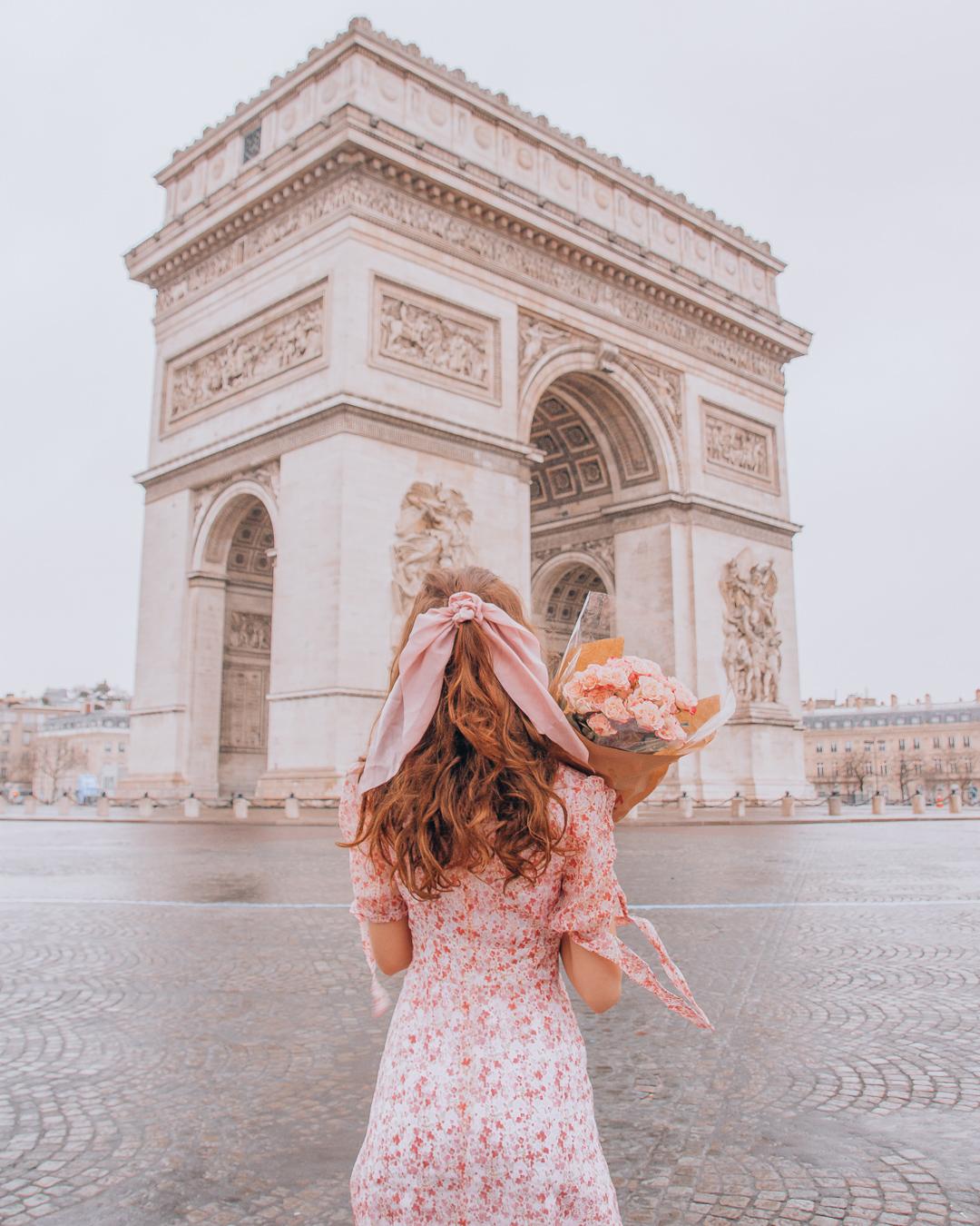 Rainy day in Paris at the Arc de Triomphe