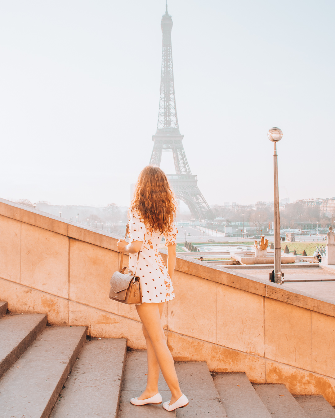 Walking on stairs of Trocadéro