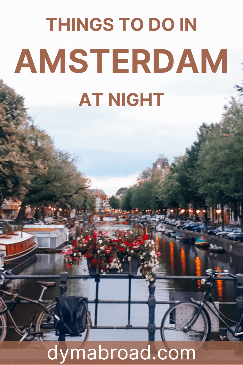 Things to do in Amsterdam at night Pinterest picture