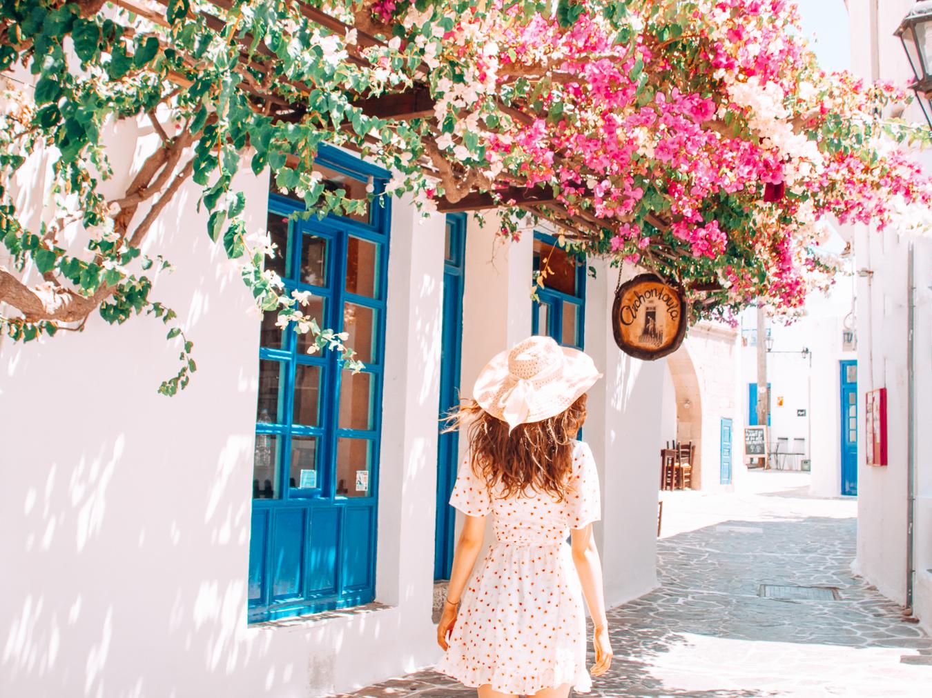 Girl in beautiful street in Paros