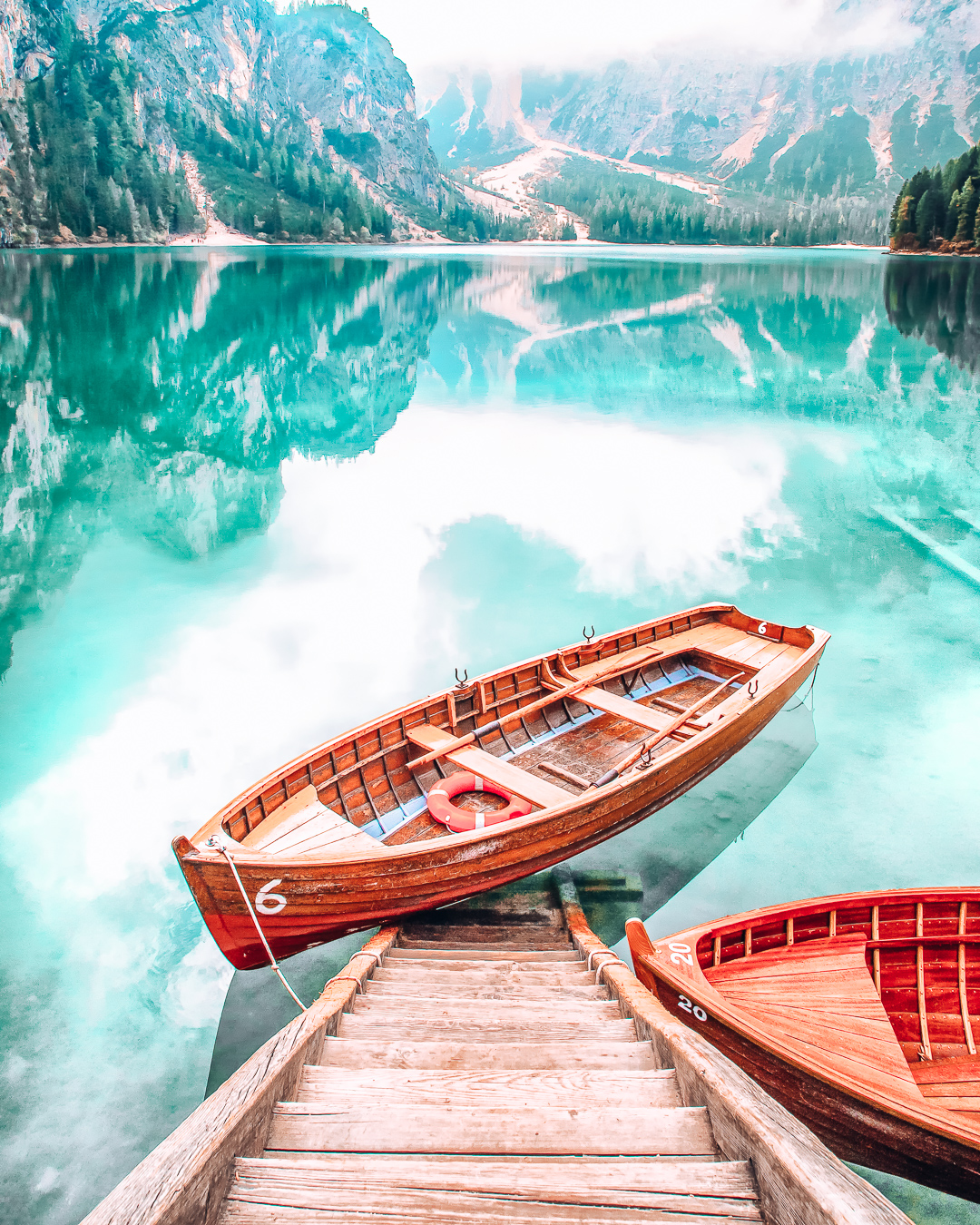 Boat at a beautiful lake in the Dolomites