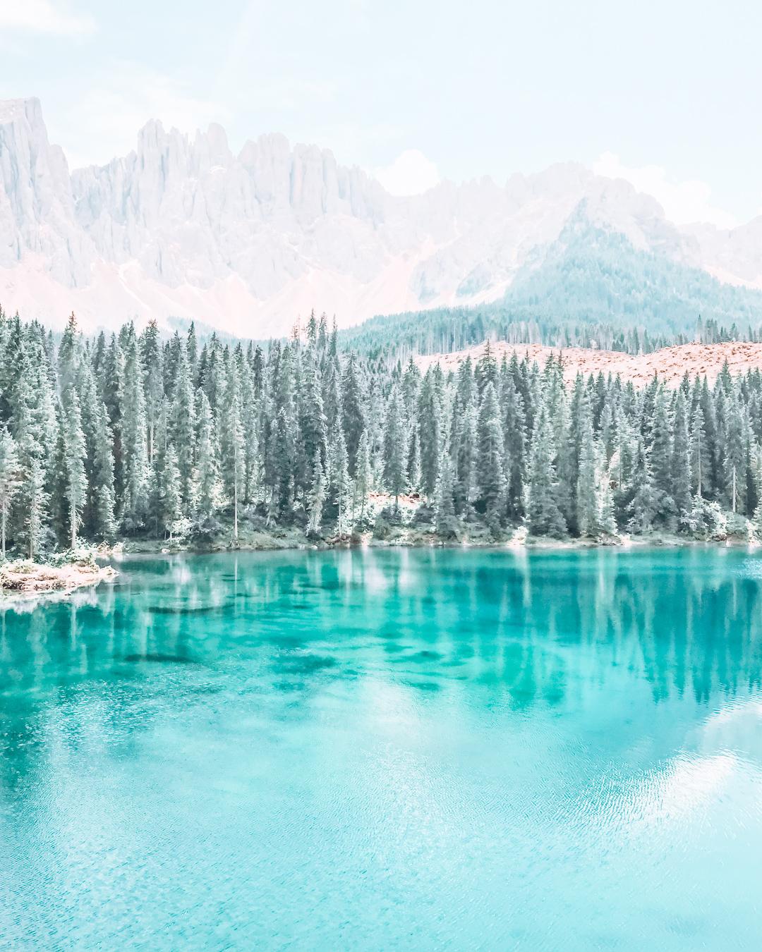 Lake Carezza in the Dolomites