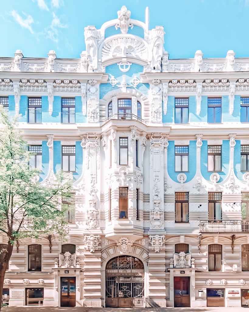Blue building in Riga