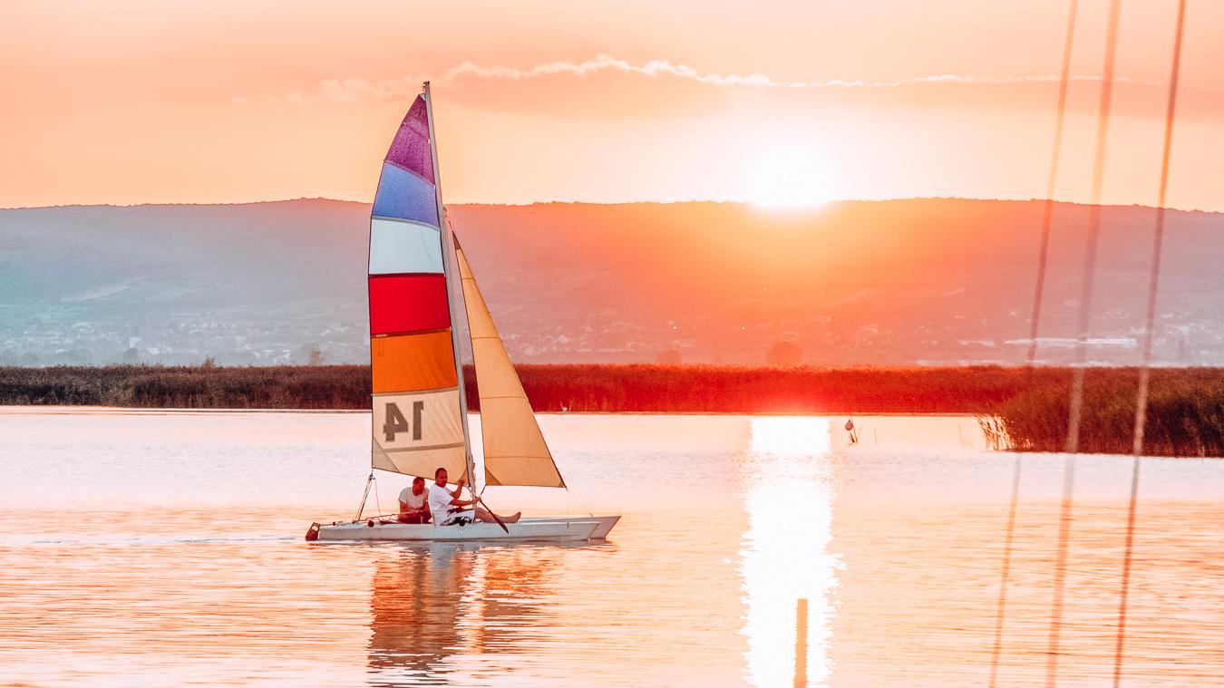 People sailing on Lake Neusiedl