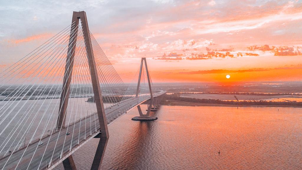A romantic sunset at Arthur Ravenel Jr. Bridge