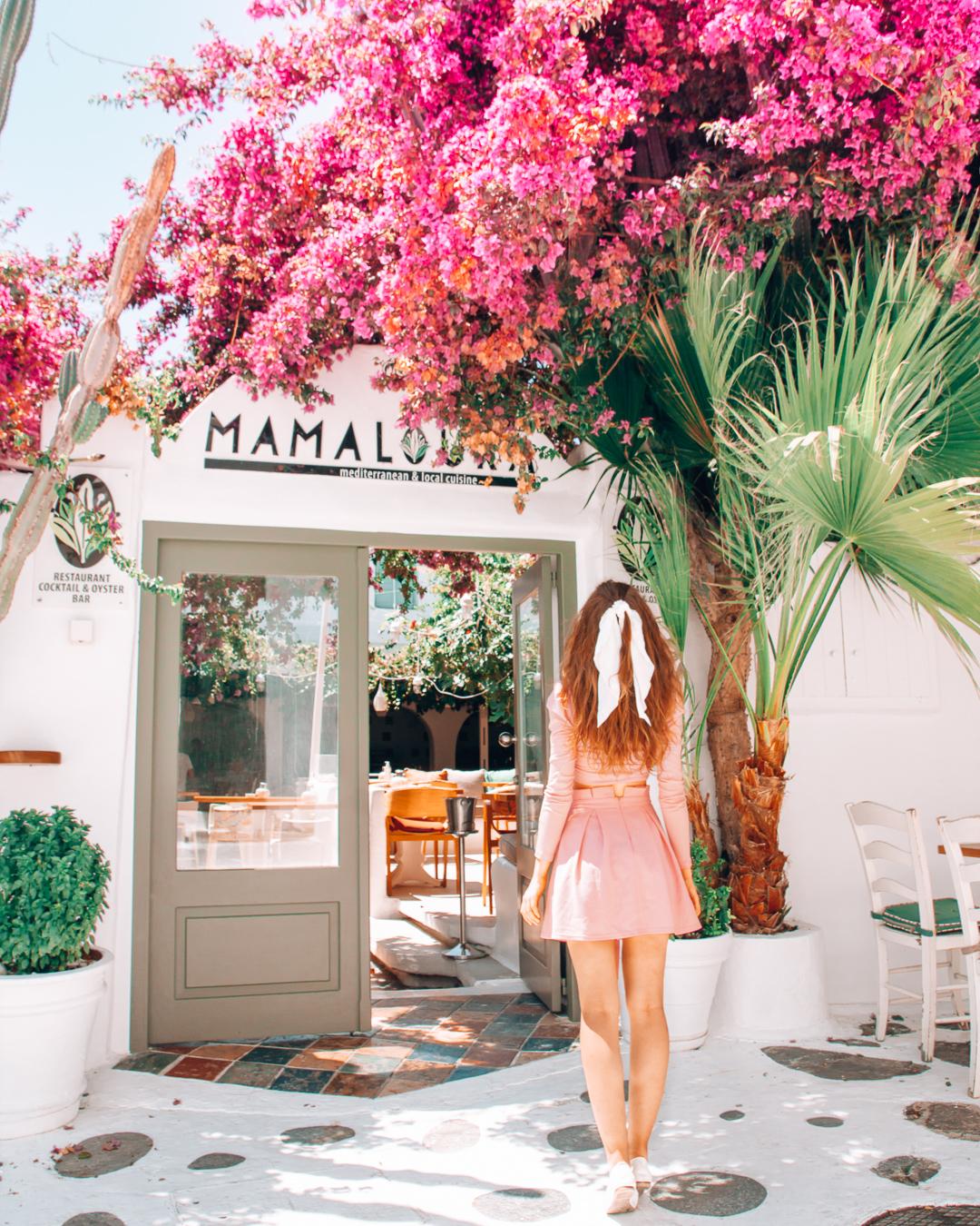 Girl walking to Mamalouka in Mykonos