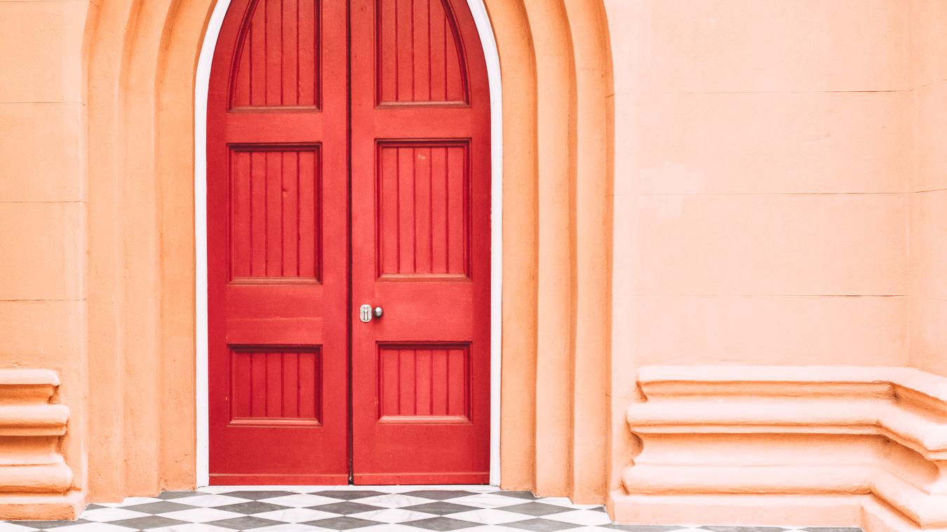 A red door at St. Matthew's Lutheran Church