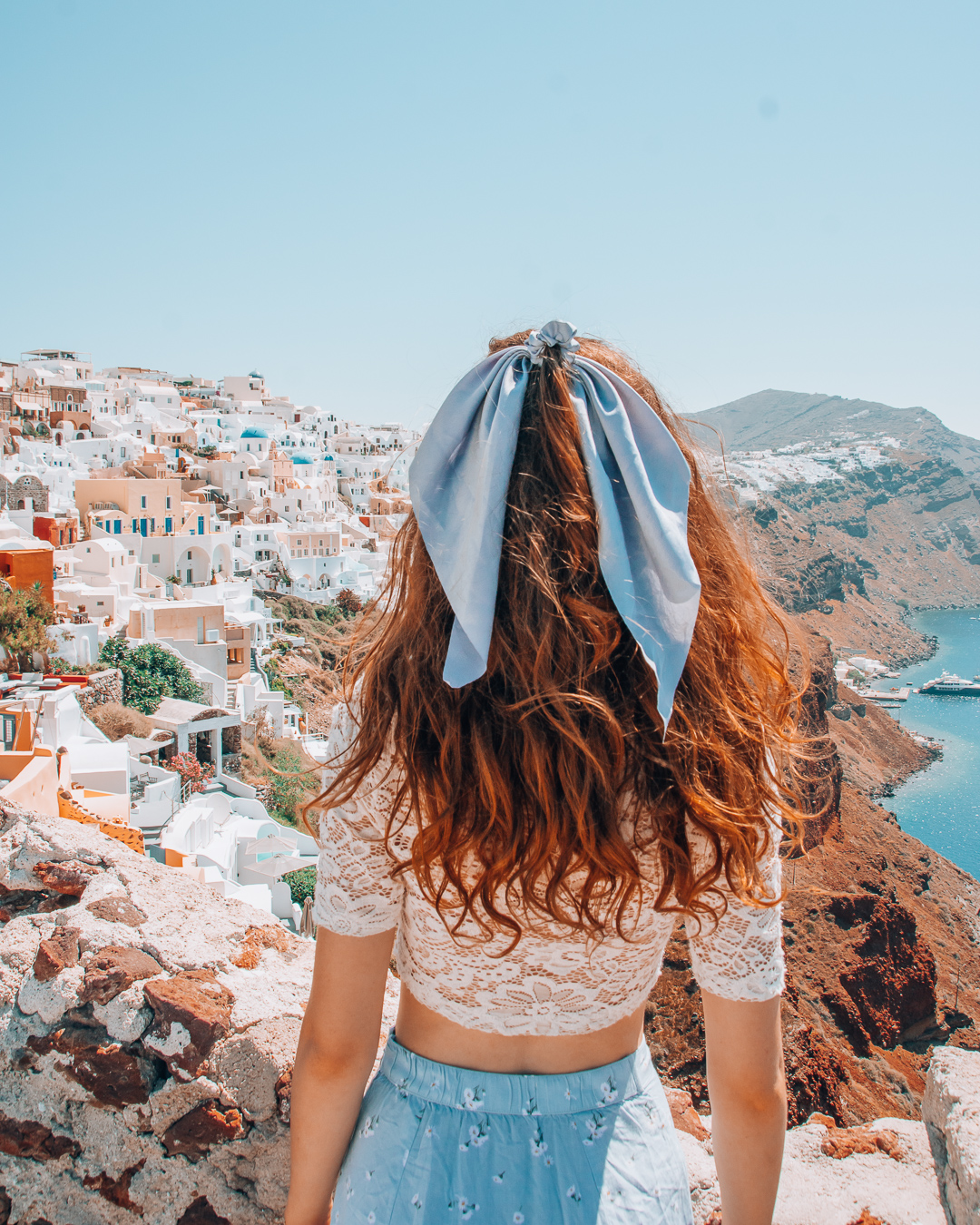 View from Oia Castle and girl