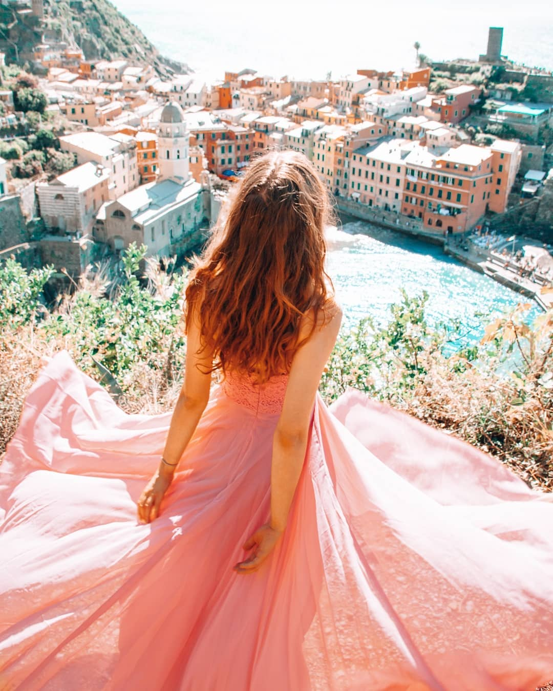Girl with dress in Cinque Terre