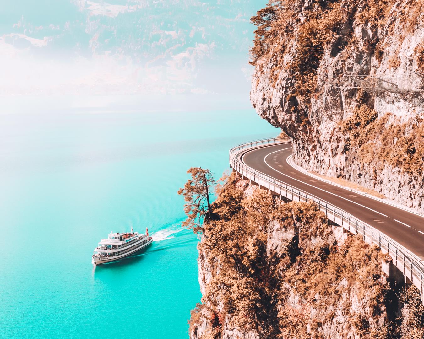 A beautiful road at Lake Thun in Switzerland
