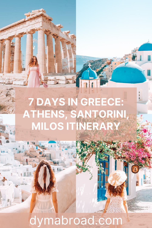Athens, Santorini, Milos itinerary second Pinterest image