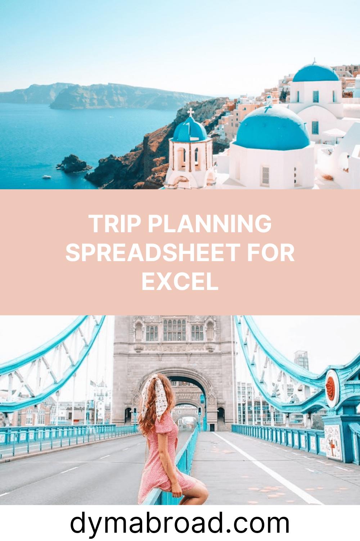 Trip planning spreadsheet second Pinterest image