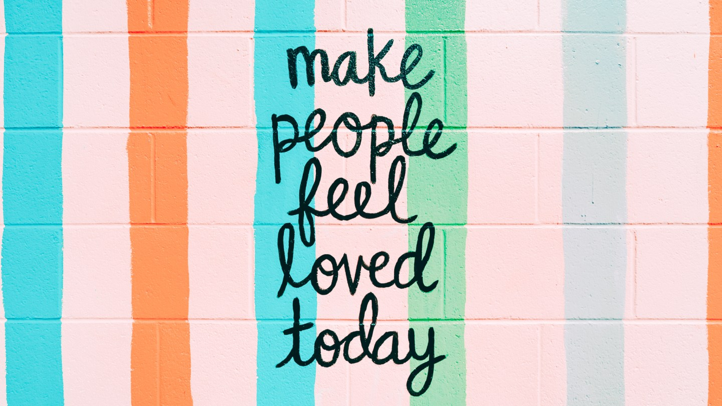 Colorful wall with a positive text