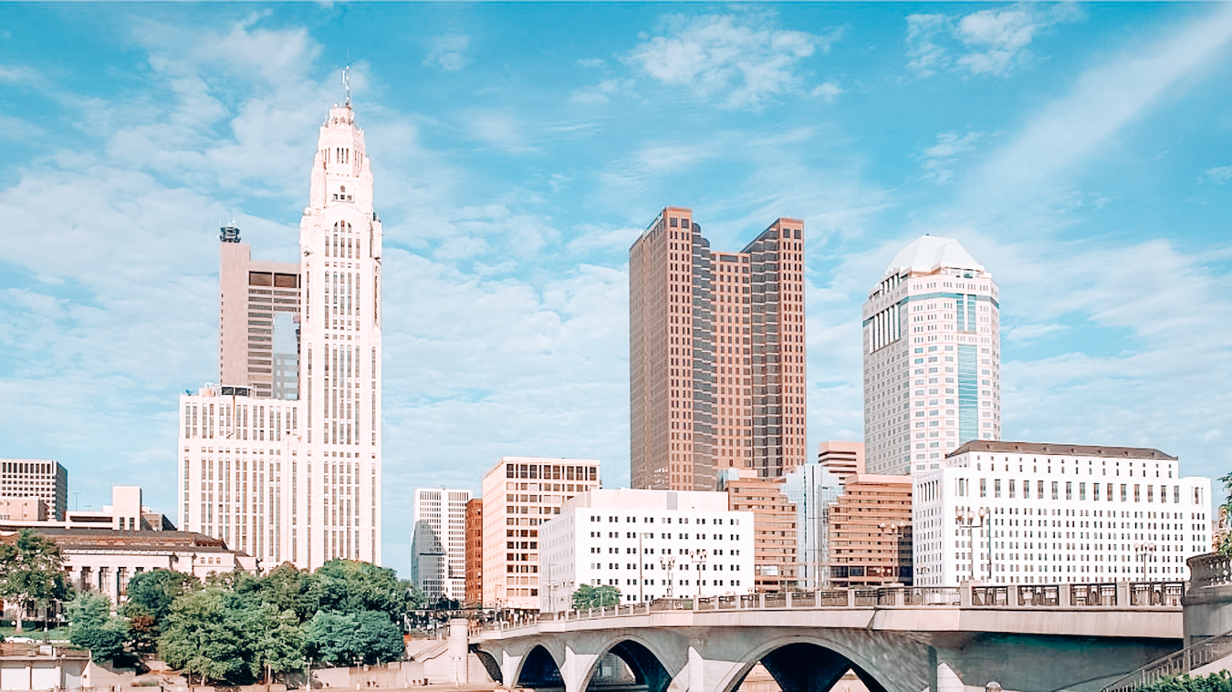 Trees and buildings in Columbus