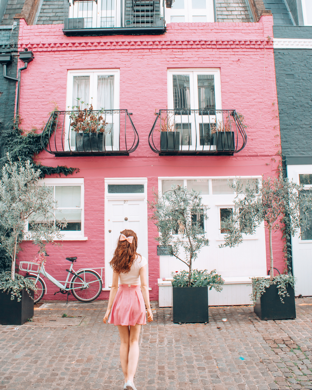 Instagrammable pink house with balconies in London