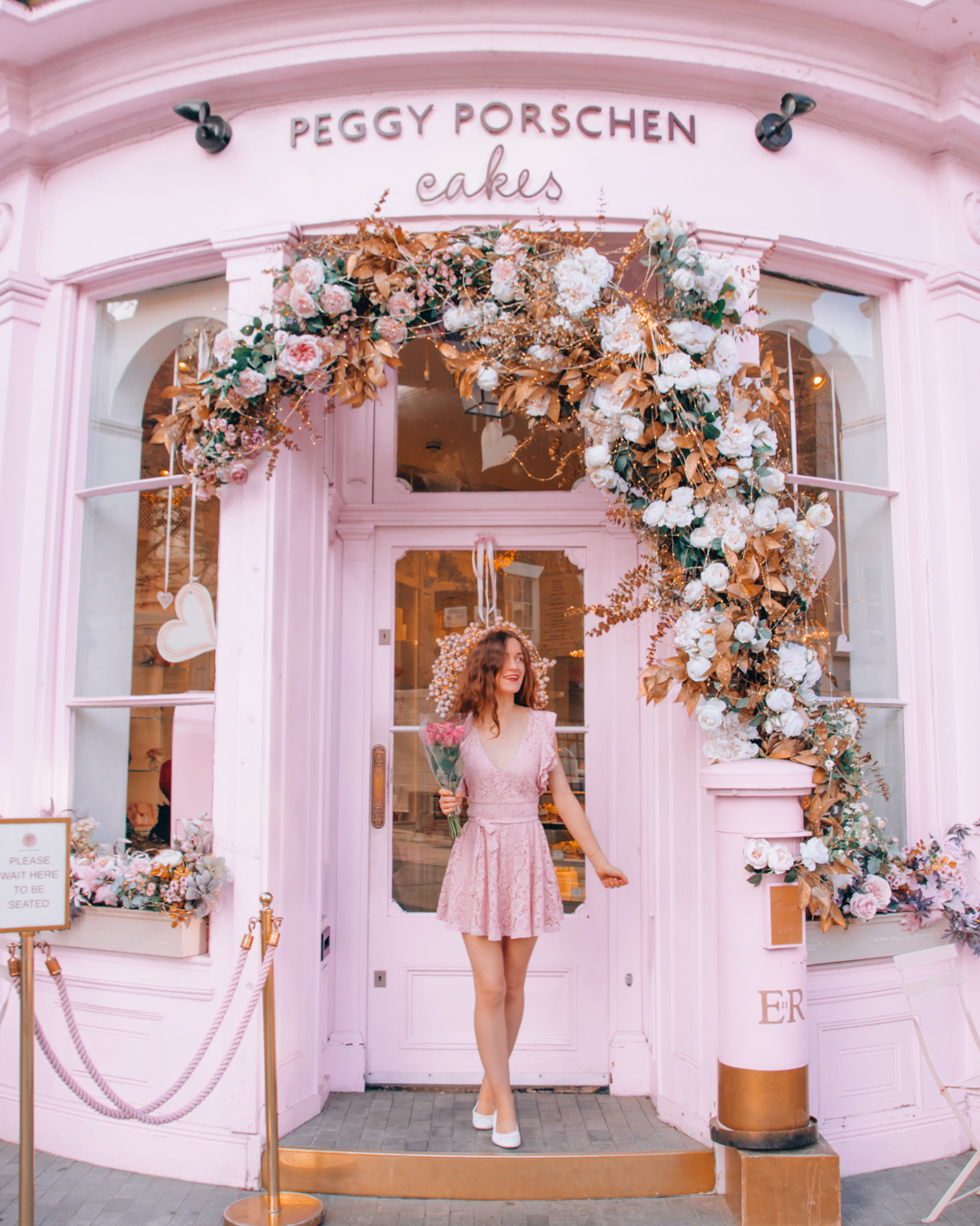 The front of Peggy Porschen Cakes in London with Instagrammable decorations