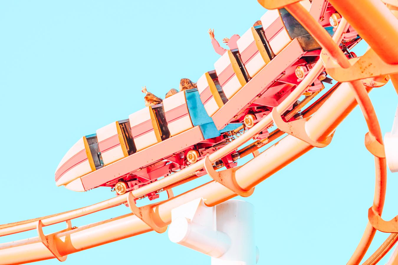 Roller coaster at Santa Monica Pier in Los Angeles