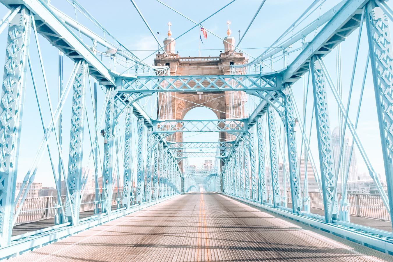 Blue bridge in Cincinnati