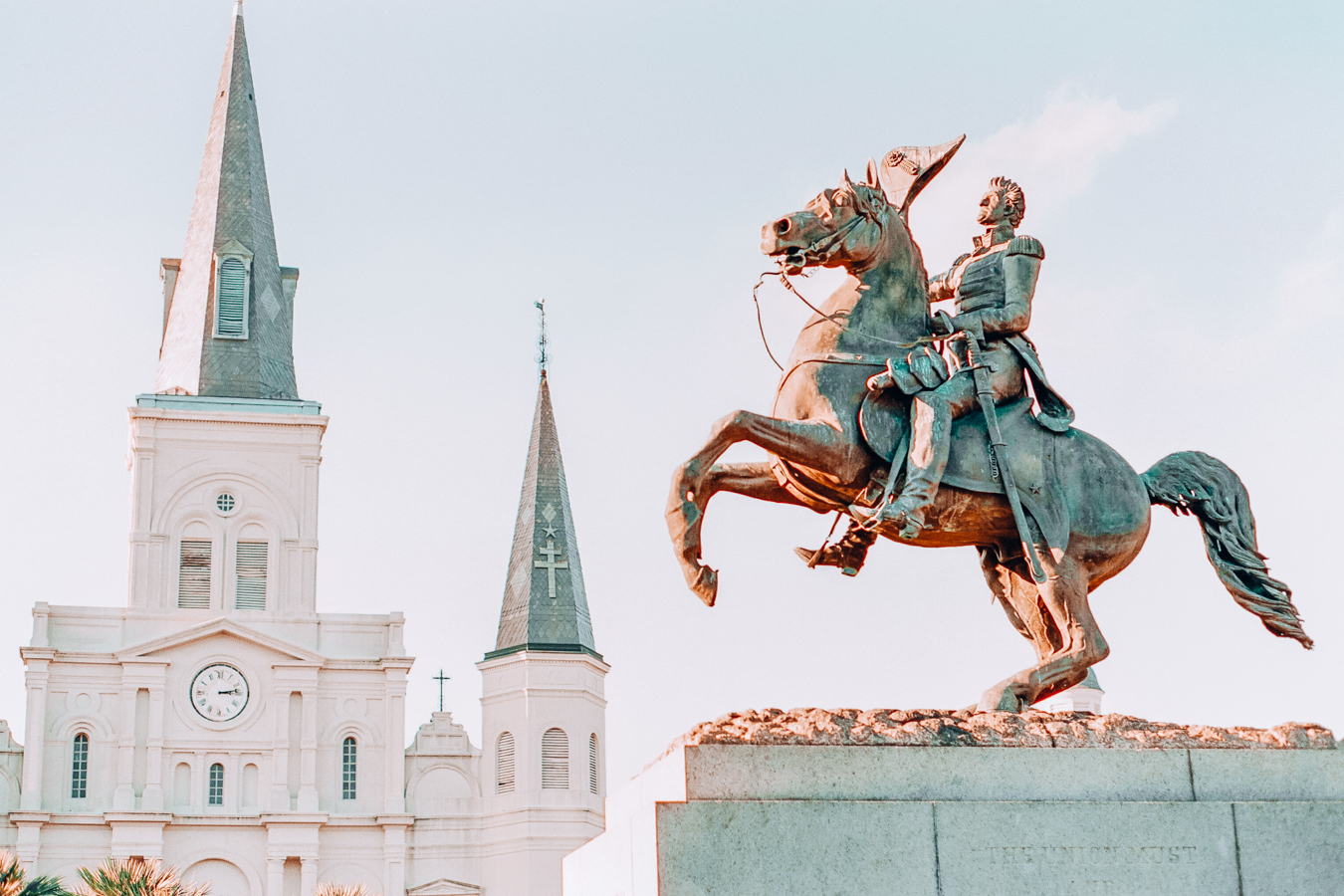 Statue and building in New Orleans