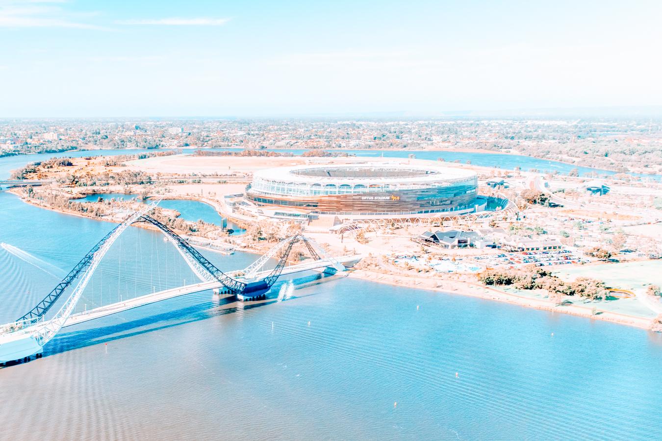 Optus Stadium and a bridge