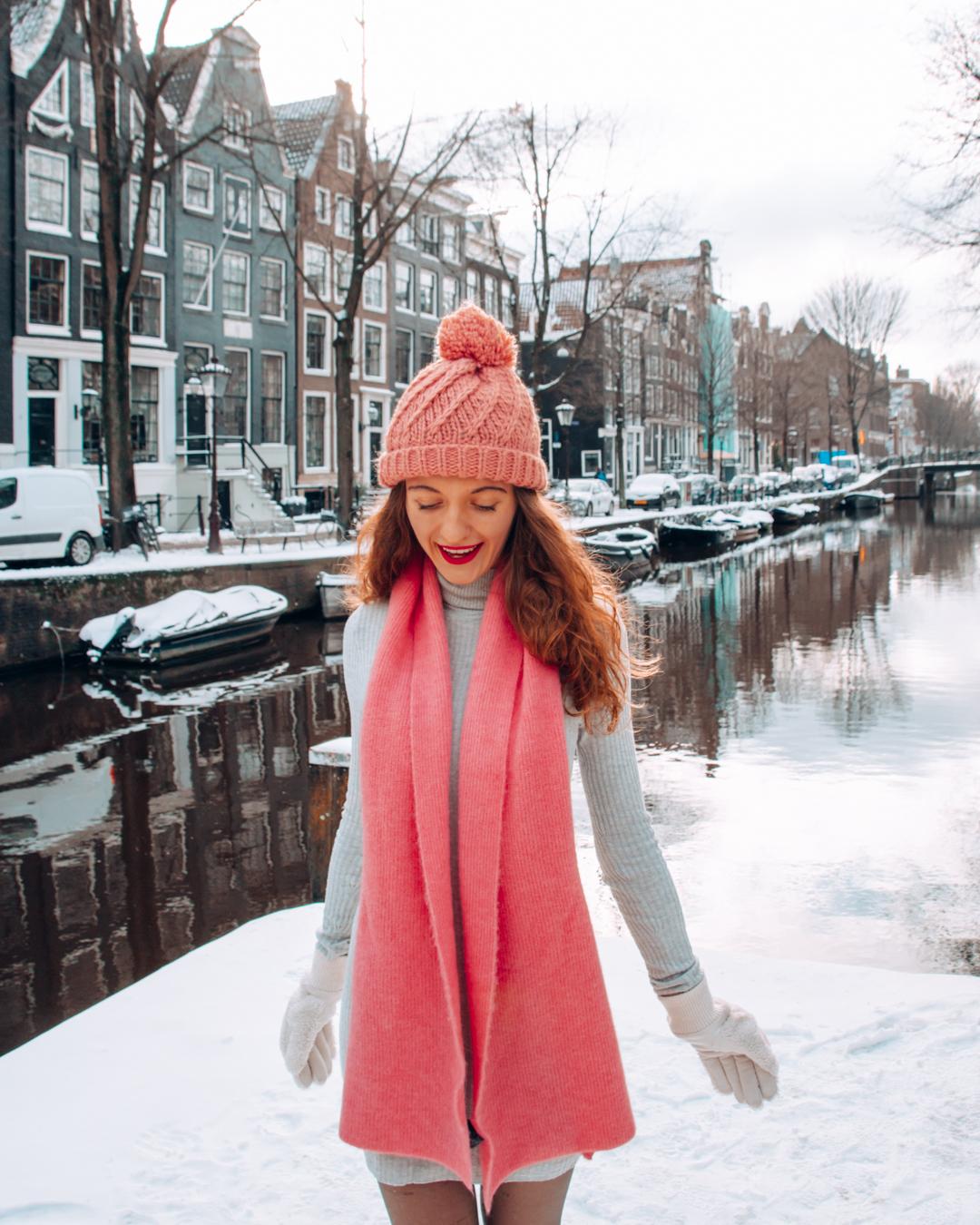 Happy girl in Amsterdam