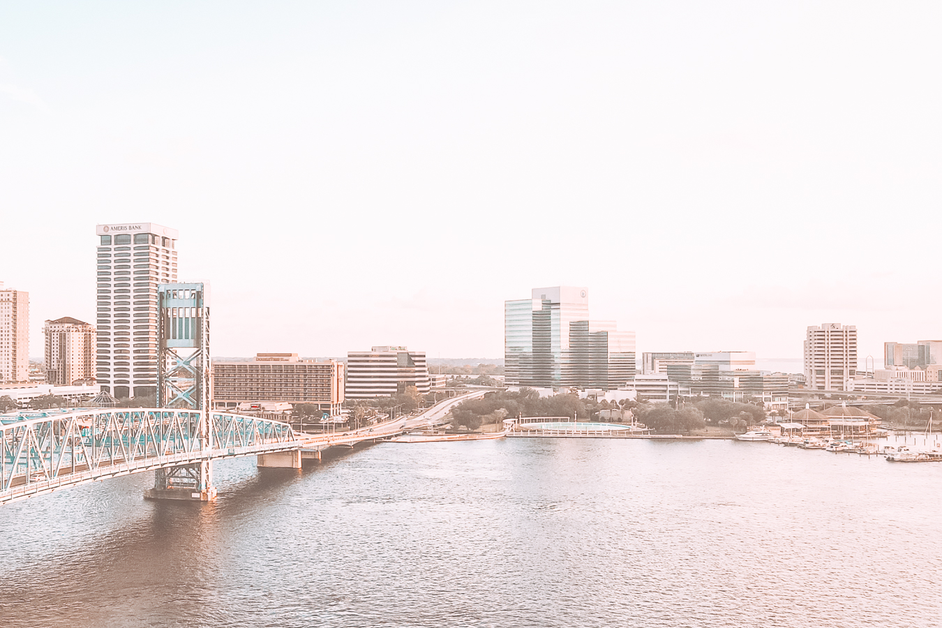 A view of water, a bridge, and buildings in Jacksonville