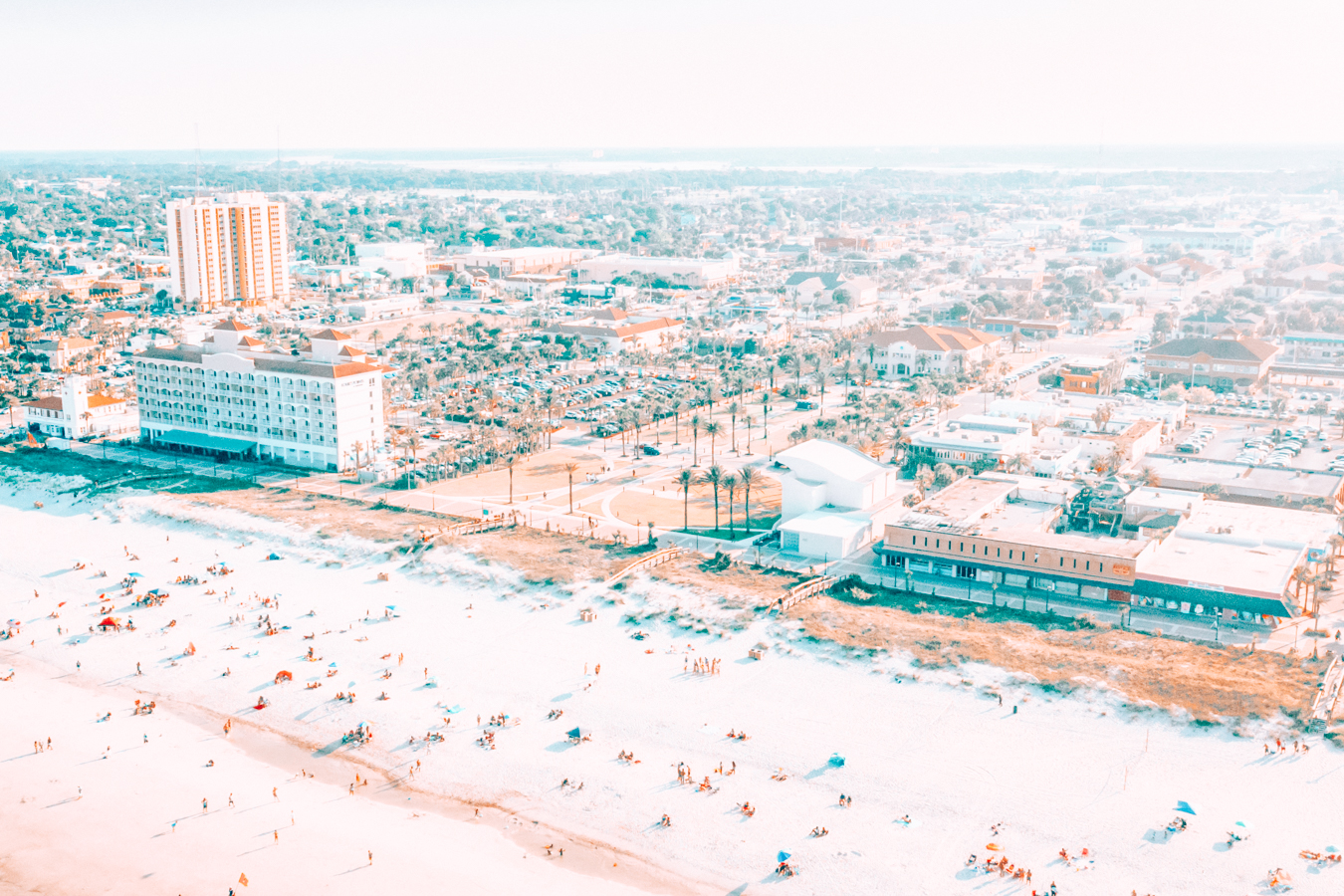 Jacksonville beach and buildings from above