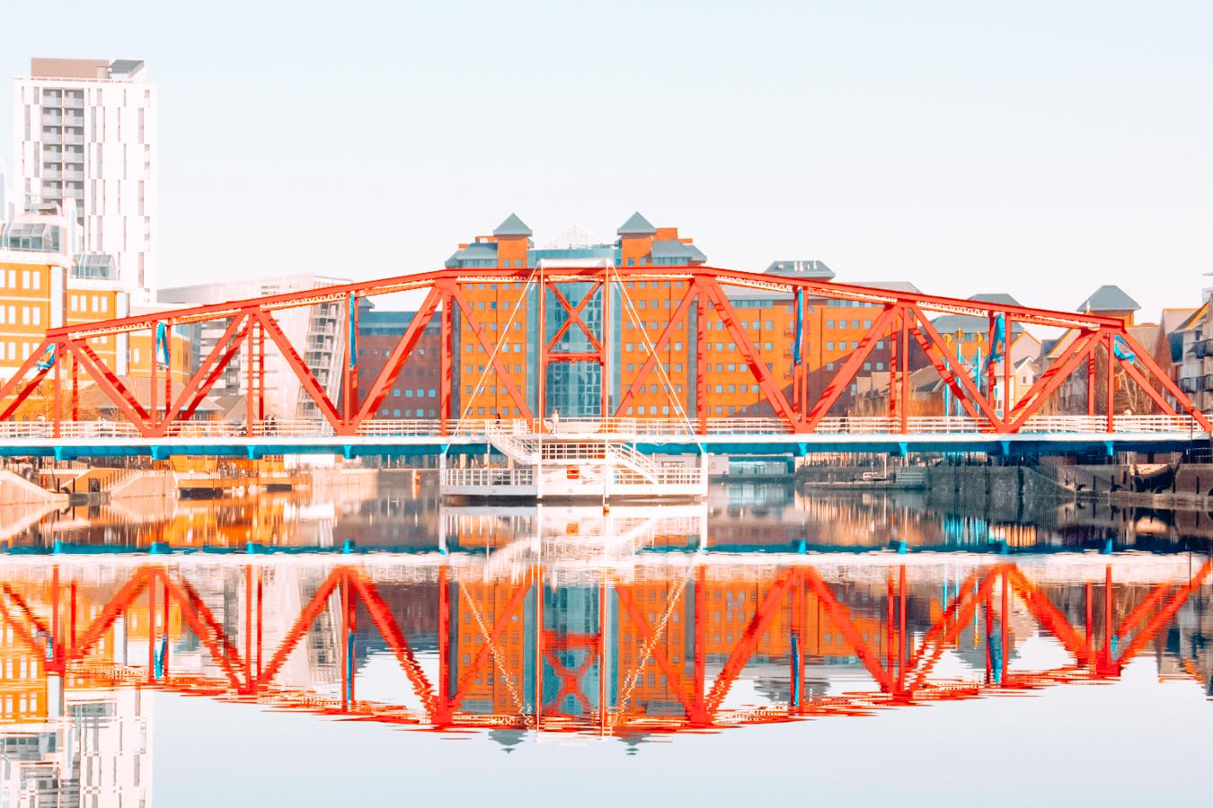 Red bridge in Manchester
