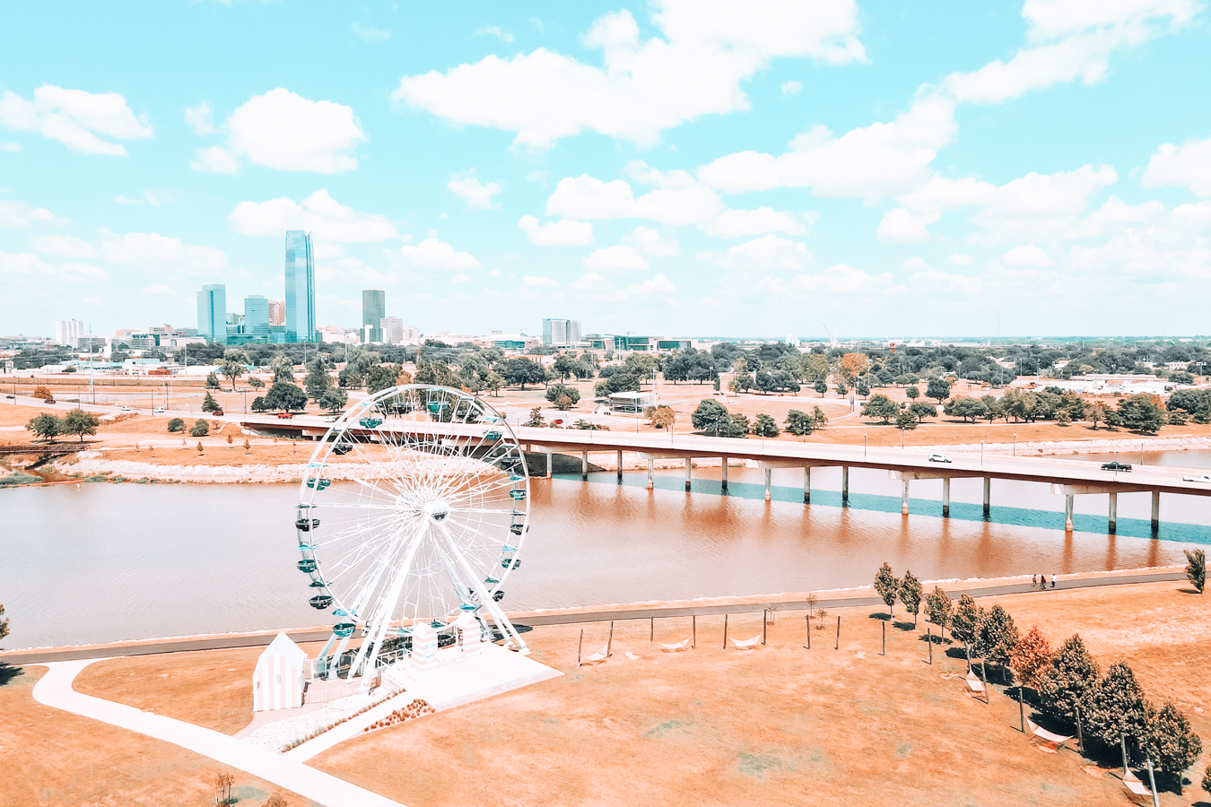 View of ferris wheel and buildings in Oklahoma City
