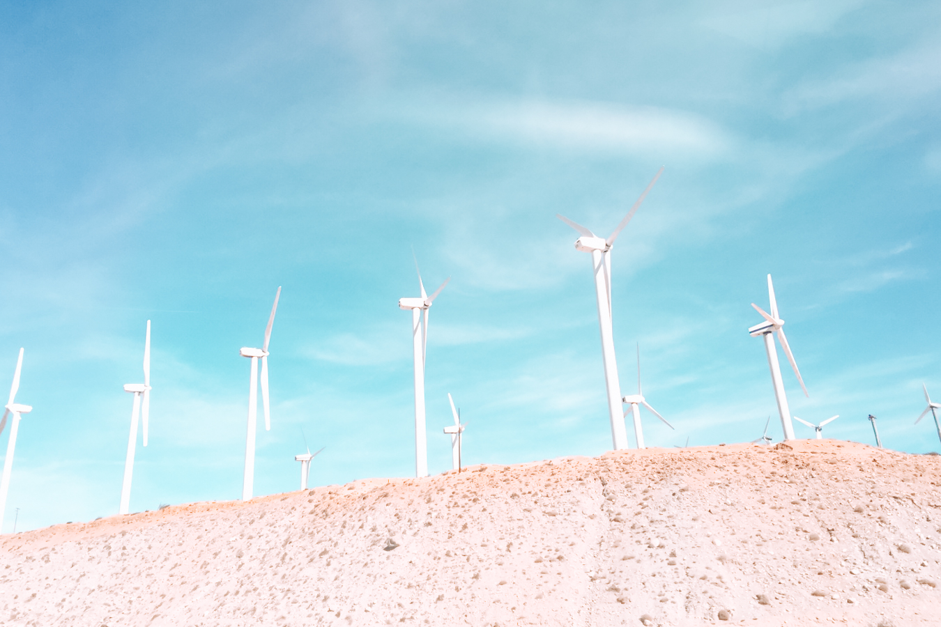 Windmills and blue sky