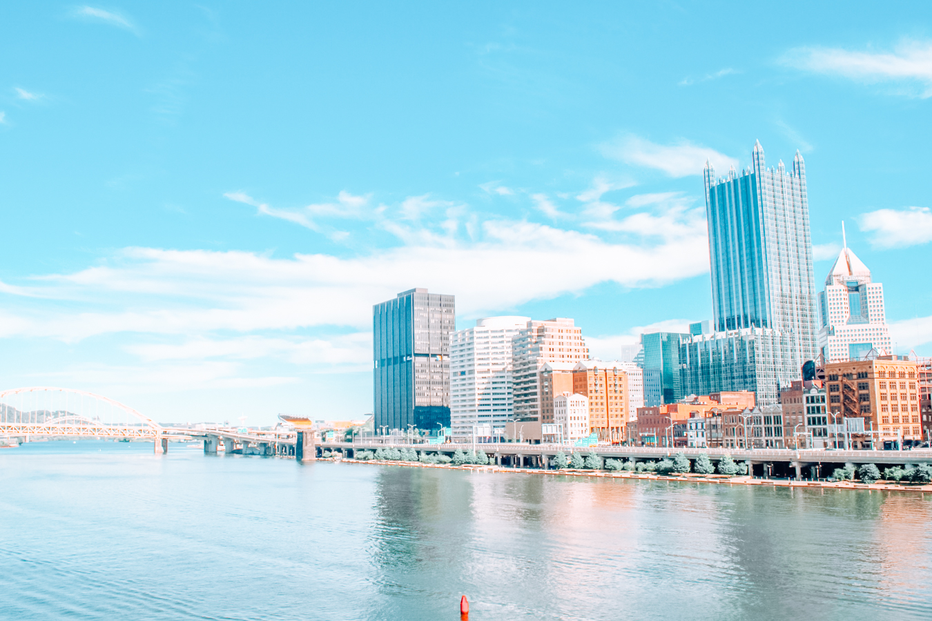 View of buildings and water in Pittsburgh