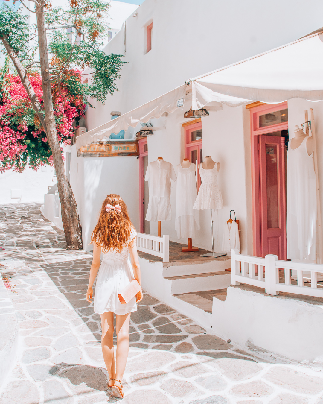 Shop with dresses in Mykonos