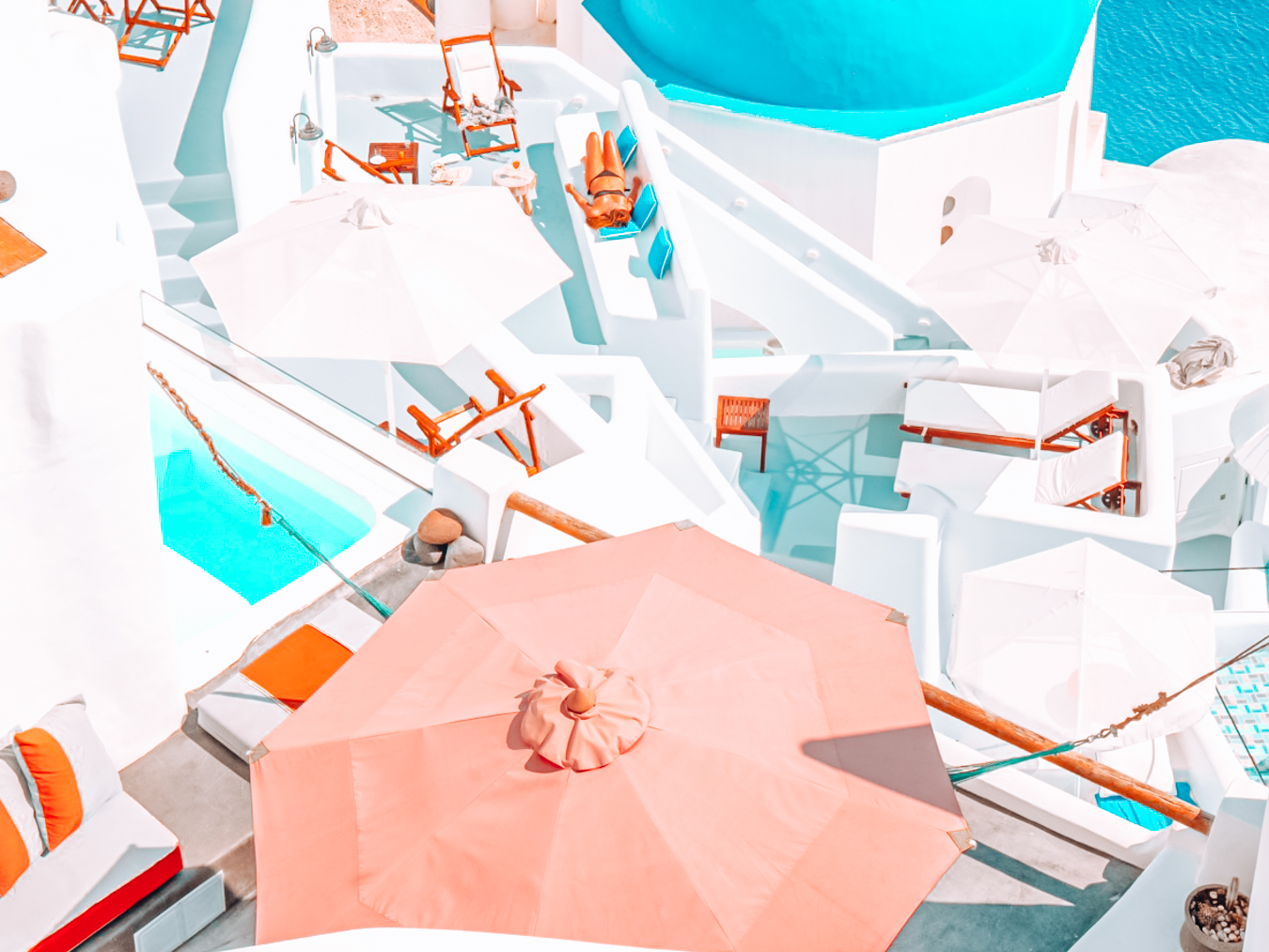 Pool and terraces of a hotel in Santorini
