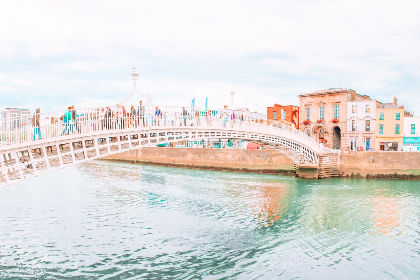People walking on a bridge in Dublin