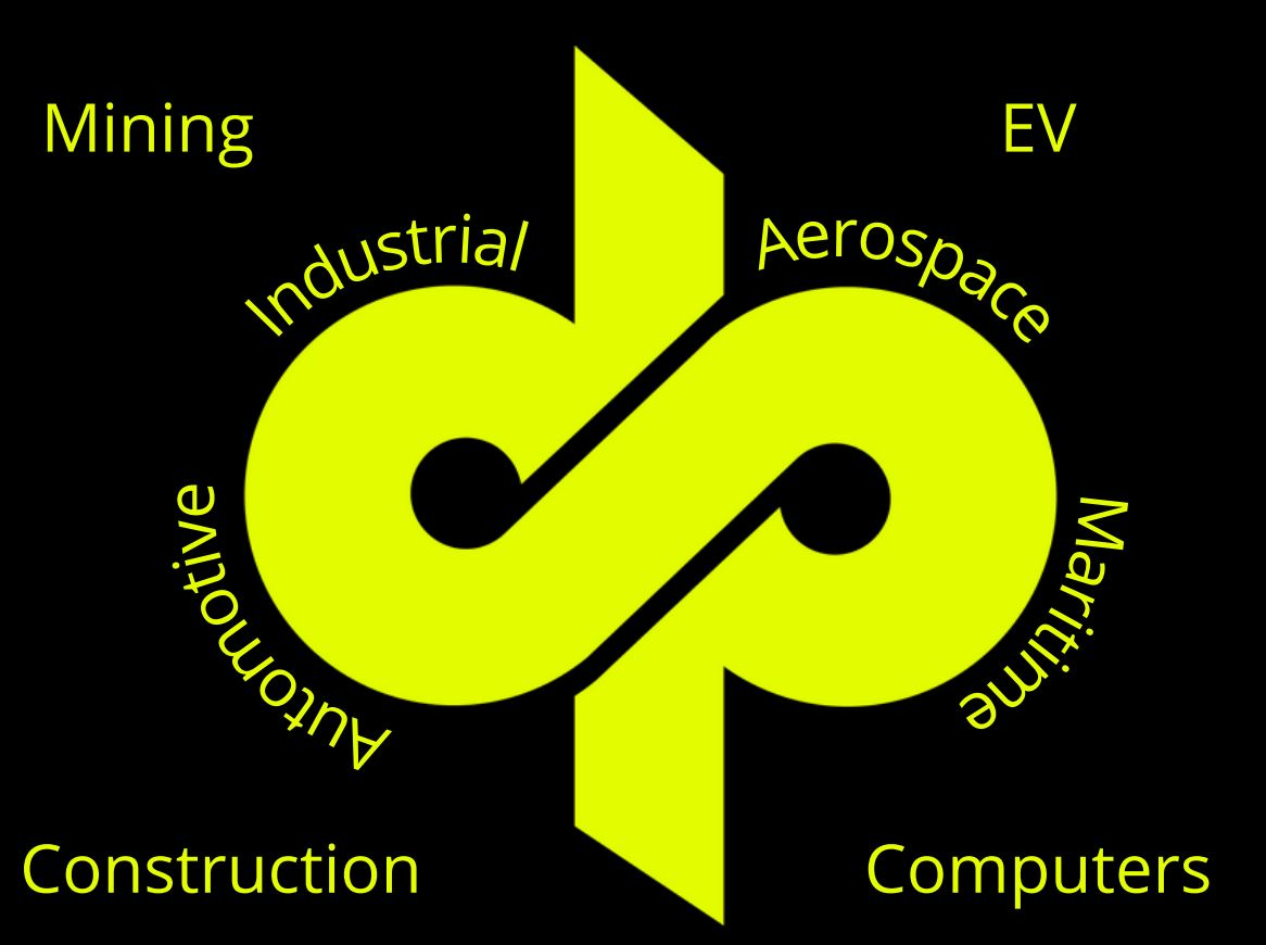 Dyme PSI logo with sectors: mining, EV, Industrial, Aerospace, Automotive, Maritime, Construction, Computers