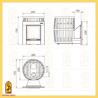 Банная печь Бочка 16Т Витра схема