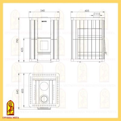 Банная печь Сахалин 12 компакт схема