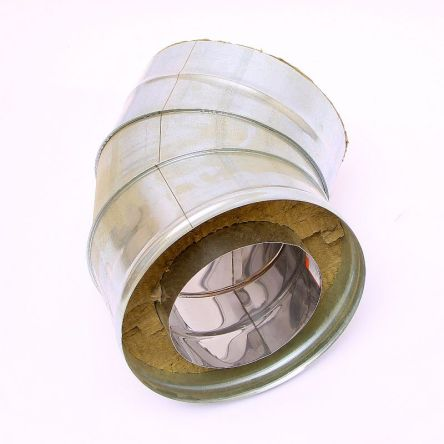 Сэндвич колено для дымохода 45° ст.0,6 мм Н/H