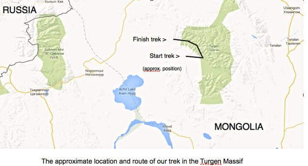Map of walking trek