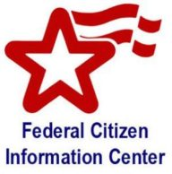 A star with a red and white flag logo for Federal Citizen Information Center