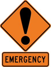 exclamation point on a sign above the word emergency