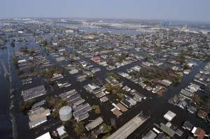 Areal view of New Orleans after Hurricane Katrina