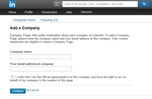 an example of how to create your company page on LinkedIn