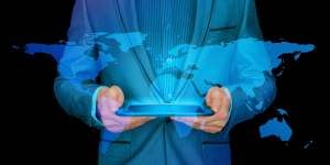 Man holding electronic map