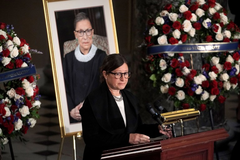 Rabbi Lauren Holtzblatt speaks during a ceremony to honor the late Justice Ruth Bader Ginsburg as she lies in state at Statuary Hall in the US Capitolin Washington, DC, on September 25.