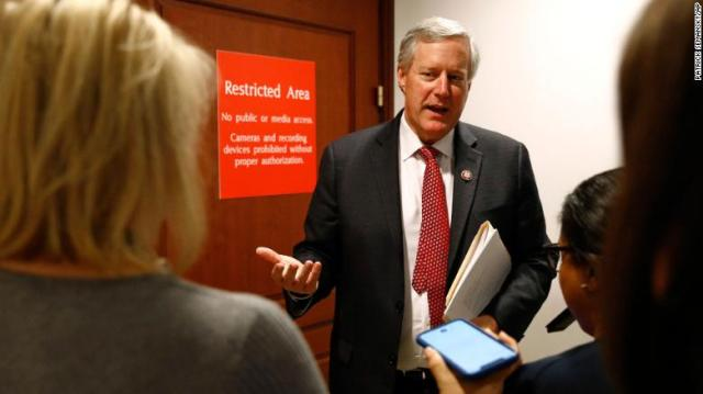 Rep. Mark Meadows, R-N.C., speaks to reporters outside a secure area of the Capitol where Army Lt. Col. Alexander Vindman, a military officer at the National Security Council, arrived for a closed door meeting to testify as part of the House impeachment inquiry on October 29.