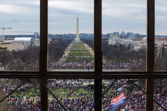 A crowd of Donald Trump supporters is seen from inside the Capitol on January 6.
