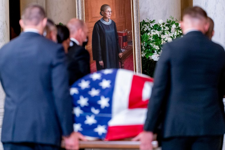 The flag-draped casket of Associate Justice Ruth Bader Ginsburg arrives in the Great Hall at the U.S. Supreme Court, on September 23 in Washington, DC.