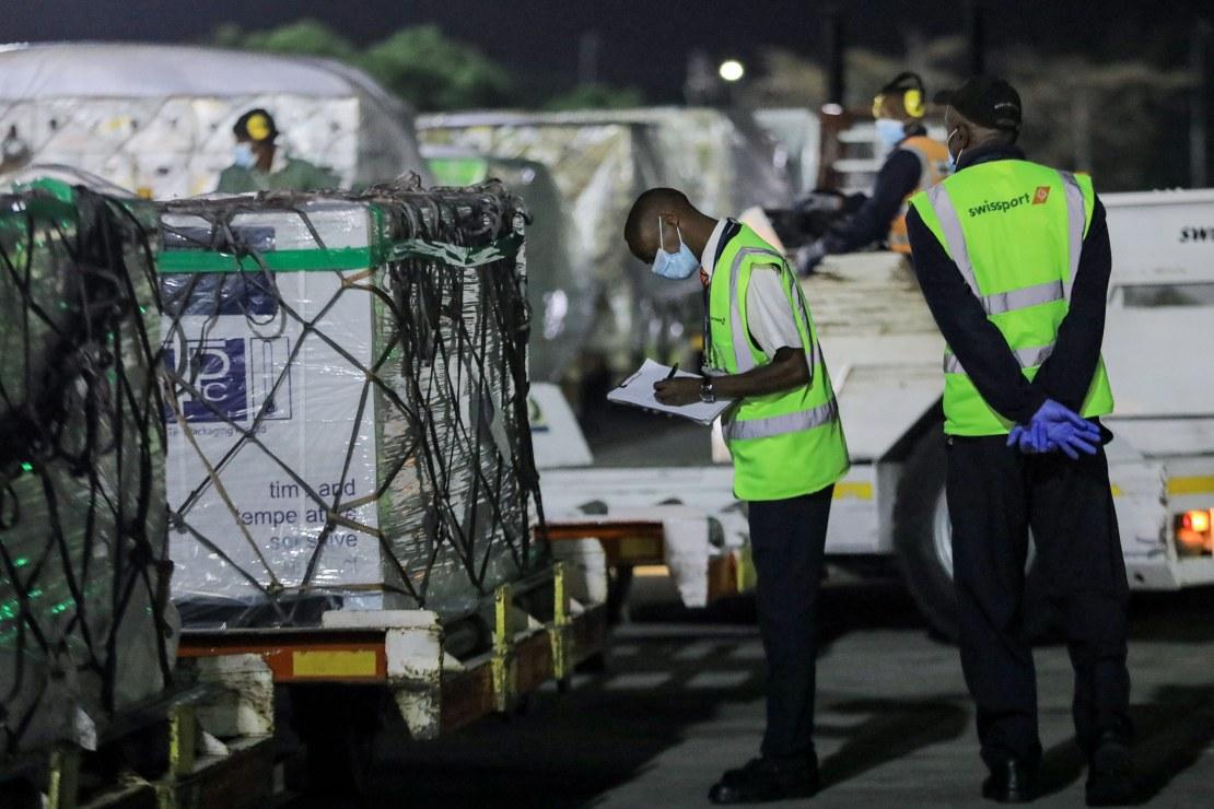 Oxford/AstaZeneca Covid-19 vaccines are unloaded after arriving at Jomo Kenyatta International Airport in Nairobi, Kenya, on March 3.