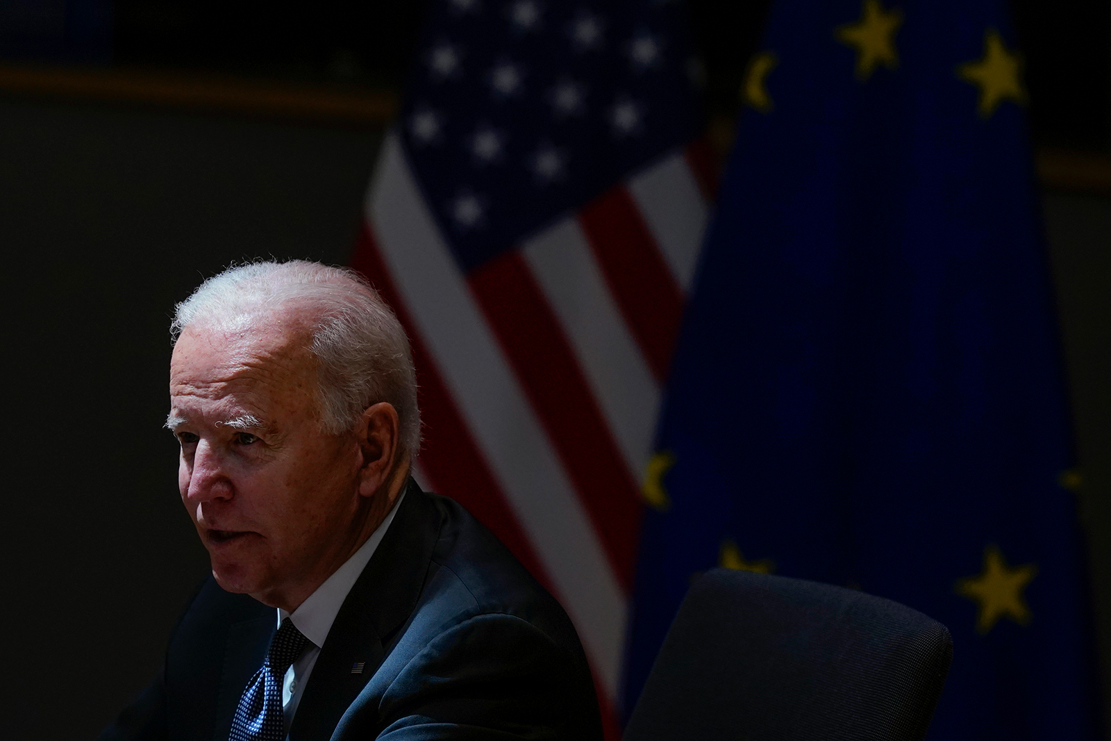 President Joe Biden speaks during the United States-European Union Summit at the European Council in Brussels, Tuesday, June 15.